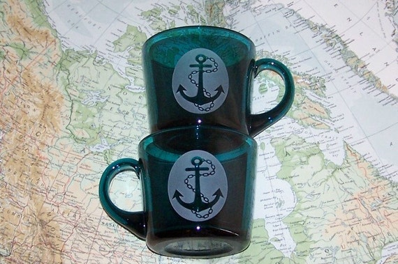 Nautical anchor mugs Indigo etched glass