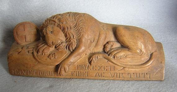 Hand Carved Swiss Lion of Lucerne Wood Sculpture