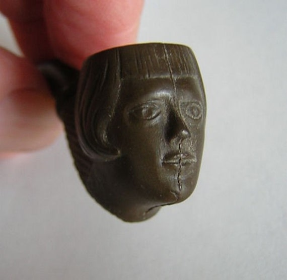 Tiny Antique Miniature Art Deco Pipe with Flapper Face