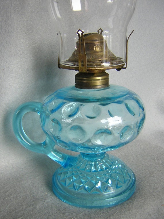 antique blue glass eapg oil lamp by curiousgoodstrader on etsy. Black Bedroom Furniture Sets. Home Design Ideas