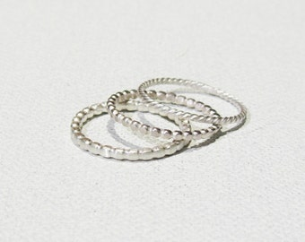 Stacking Sterling Silver flattened Bubbles, Balls & Circles Rings