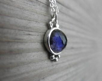 Rose cut Iolite Purple Blue Handmade Bezel Setting Necklace