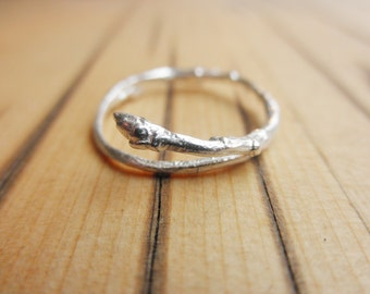 Recycled Branch Twig Ring Bud Sterling Silver refined
