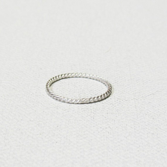 sterling silver ring stackable twisted by a1000kisses on etsy