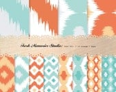Ikat Vol. 1 in Orange and Aqua. 12x12. Mod Digital Printable Paper Pack.