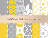 Adeline Vol. 2 in Gray and Yellow. 12x12. Modern Digital Printable Paper Pack.
