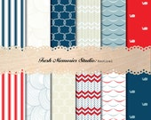 Nautical Collection in Navy, Red, Tan, Light Blue. 12x12. Modern Digital Printable Paper Pack.