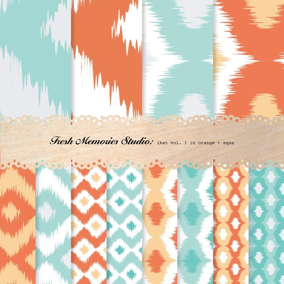 Ikat Vol. 1 in Orange and Aqua. 12x12. Mod Digital Printable Paper Pack.
