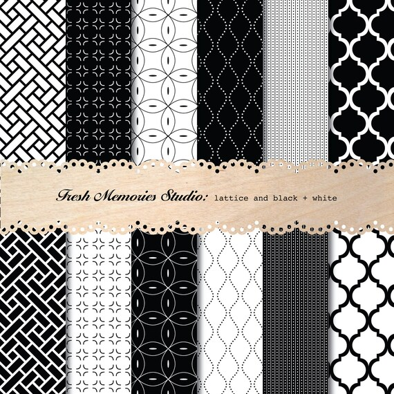 Lattice in Black and White. 12x12. Modern Digital Printable Paper Pack for cards, scrapbooking or commercial.
