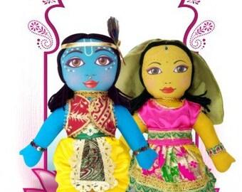 "Small Radha Krsna Doll set (onepiece)    8-9"""