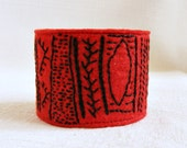 Felt cuff bracelet embroidery red black tribal abstract OOAK
