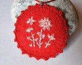 Hand embroidered necklace floral red pink needlecraft OOak