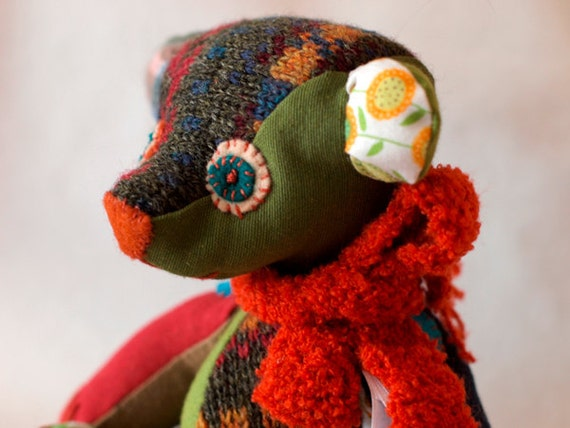 Fabric bear colorful OOAK Christmas gift : Once upon a time