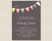 Baby Girl Pennant - Baby Shower, Sip and See, Birthday Invitation - You Print
