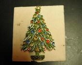 Christmas Tree Multi-Colored Rhinestone Pin Brooch Vintage