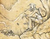 YELLOWING BRUISES (print) post apocalyptic gas mask girl illustration 11x14