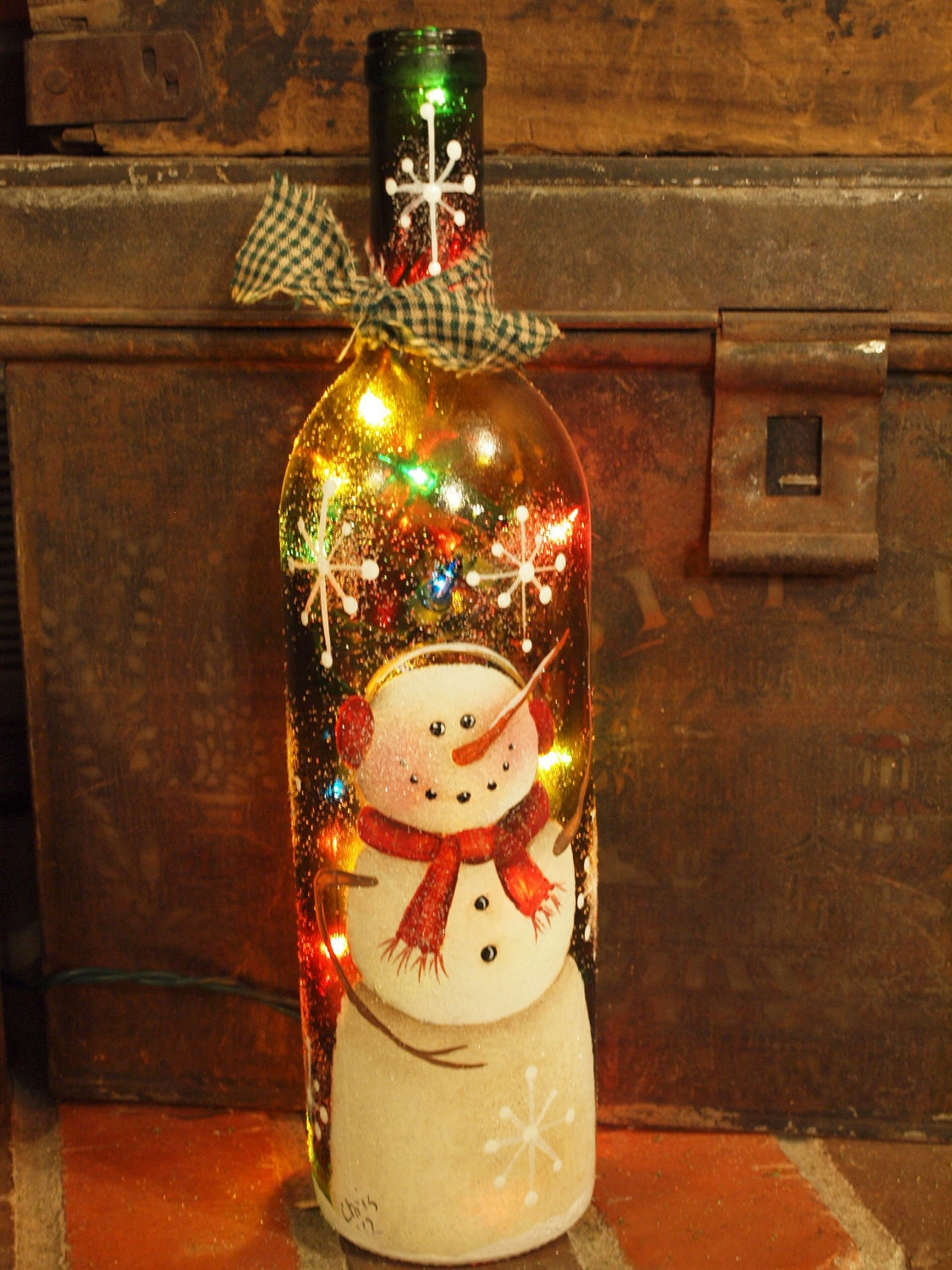 Wine bottle handpainted with snowman colored lights for Where to buy colored wine bottles