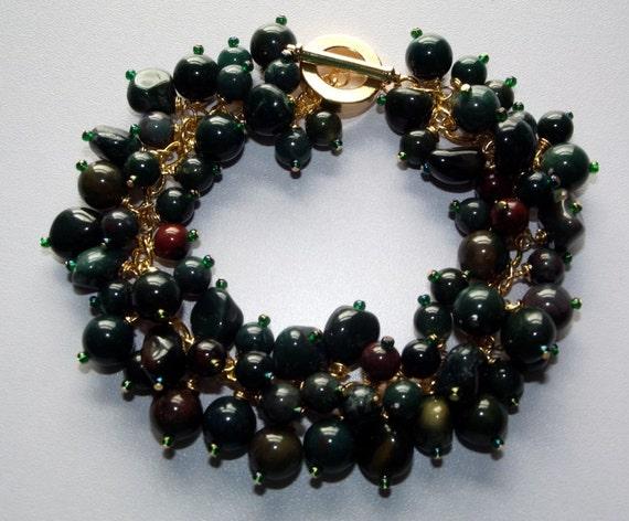 Bloodstone Gemmy Bracelet, Charm Bracelet, Chunky Bracelet, Gemstone Bracelet, Birthstone Bracelet, Wirewrapped, Gold