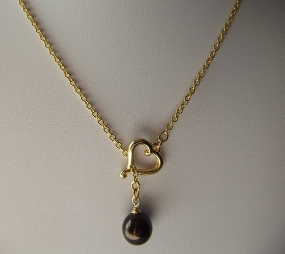 Maroon Crystal Pearl and Heart Pendan Necklace, Lariat, Bridesmaid Gift, Gifts for Her, Gifts for Mom, Gold