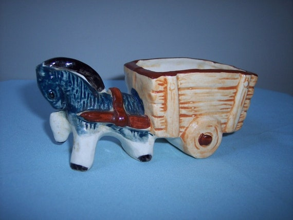 Vintage Pony and Cart Planter, Trinket Jewelry Holder, Nursery, Baby Shower, Antique Gifts for Mom, Japan