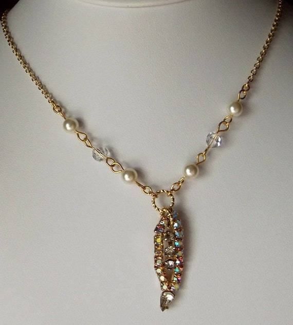 OOAK Vintage Teardrop Necklace, Recycled Jewelry Pendant Necklace, Crystal Necklace, Gifts for Her, Gifts for Mom, Gold