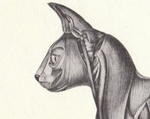 Vintage Cat Musculature Anatomy Illustration Book Page
