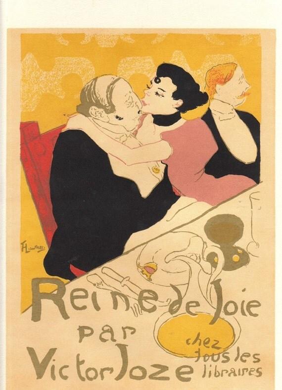 vintage poster of moulin rouge by toulouse lautrec by niminsshop. Black Bedroom Furniture Sets. Home Design Ideas