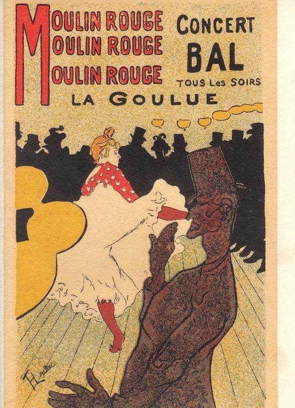 vintage poster of moulin rouge by toulouse lautrec. Black Bedroom Furniture Sets. Home Design Ideas