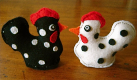 Pair of Felt  Primitive Funky Chickens