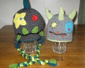 Monster Hat - Little Monster Beanie or Earflap Hat - You Can Design Your Own