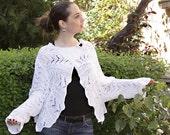 White Summer Cardigan/ Hand Knit White Bolero/ Bridal Lace Shrug/ Wedding Shrug Bolero/ Vest/ Cruise Fashion by Solandia