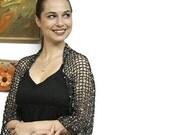 BLACK BOLERO, Elegant Knitted Shrug with Entwined Semi-precious Stones, Summer Knit Evening Shrug, luxury