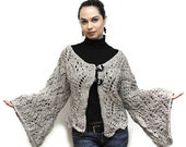 BLACK Friday SALE Hand Knitted Bulky Lace Cardigan EVRIDIKA in cool grey by Solandia, size L, Christmas Gift