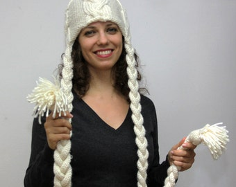 Made to Order: Hand Knit Wool Winter Hat with Braids RAPUNZEL IN IVORY, handknit hat with long tresses by Solandia, winter fashion, custom