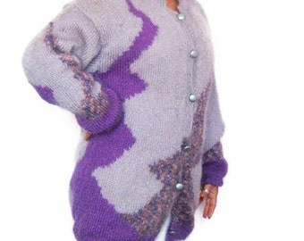 Hand Knitted Pure Mohair Cardigan with Lining, Long Sleeved Purple Coat XL Size by Solandia, Knit Fashion