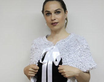 Wedding Dress Cape, Capelet, Wedding Shrug, Bella, Bridal Cape, White Ruffled Cape by Solandia, wedding fashion