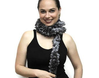 Metallic Trendy Skinny Scarf/ Coctail Evening Formal Dress Scarf/ Ruffled Grey Silver Christmas gift, Party Scarf, Christmas Gift