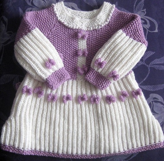 BLACK FRIDAY SALE Toddler Knitted Wool Dress - Smell of Lilac - Hand knit children sweater for 2 to 3 years aged girls by Solandia