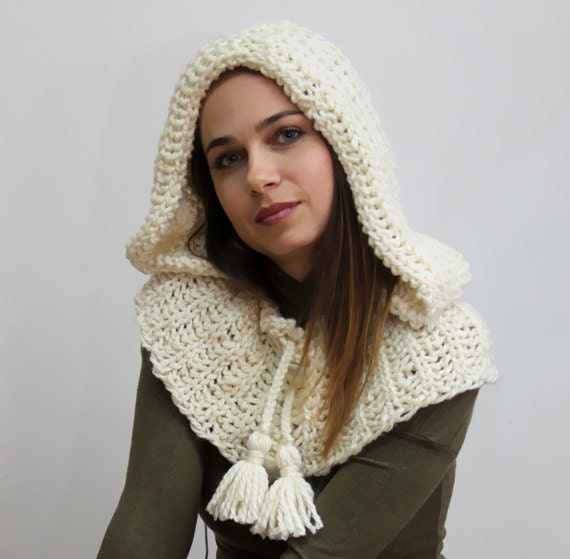 Big Hood with Small Cape WINTER REVERIE, Ivory Warm Wool Hoodie by Solandia