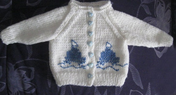 SALE - New Born Baby Cardigan - Sailing Ship -1 to 4 months by Solandia
