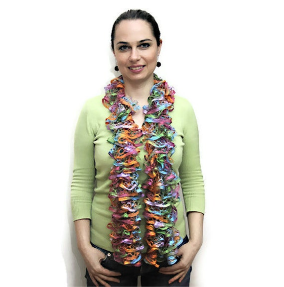 Summer Scarf - The Frou-Frou Lace Scarf - Hand Knit Ruffled Shawl - rainbow, orange, purple, violet, blue, green by Solandia