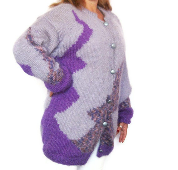Hand Knitted Pure Mohair Cardigan with Lining, Long Sleeved Purple Coat, XL Size by Solandia, Early Spring, AutumnFashion