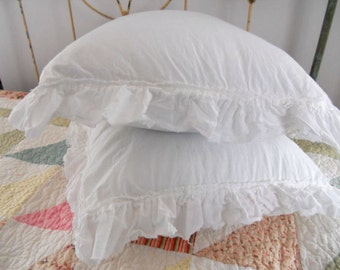 Pillow Shams with unhemmed cottage ruffle in frost designed and sewn by Mickey Zimmer