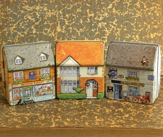 3 Tin Dana Kubick Victorian Houses by Hunkydory Design England