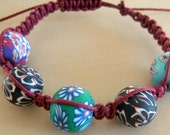 Macrame, Fimo, Friendship Bracelet, oxblood Cord, multicolored Beads