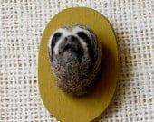 Needle Felted Sloth Taxidermy Pin