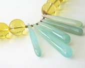 Citirine Colored Glass with Aqua Chalcedony. - NatashaNicholson