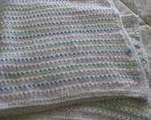 Knit Baby Blanket with Crocheted Border for Baby Girl or Baby Boy