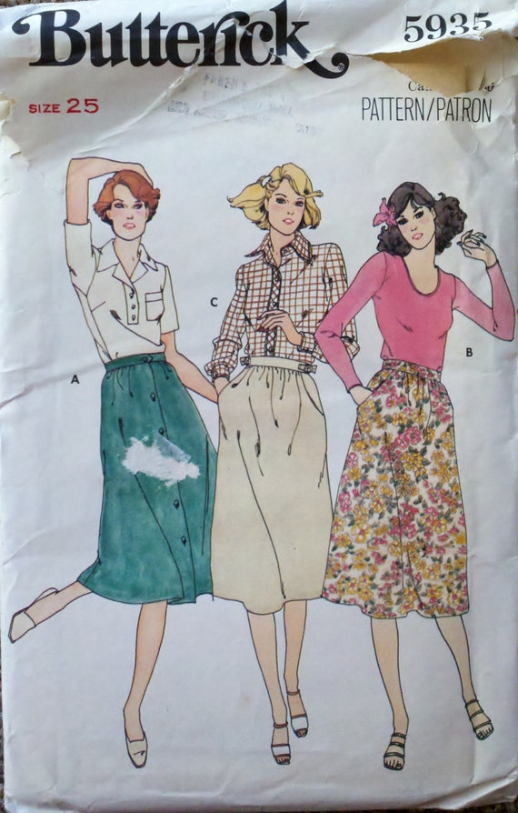 "Vintage 1970s Womens Flared Skirt Sewing Pattern Waist 25""  Butterick 5935"