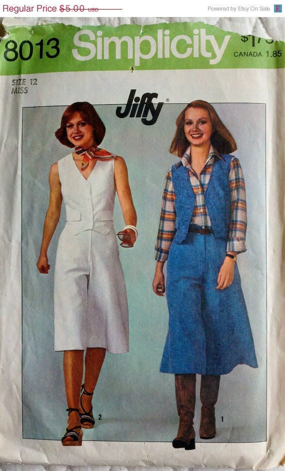 70s Vintage Womens Sewing Pattern Pankskirt and Vest Size 12 Bust 34 Simplicity 8013